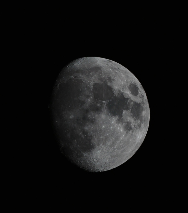 Moon (86% waxing gibbous) through 80mm refractor